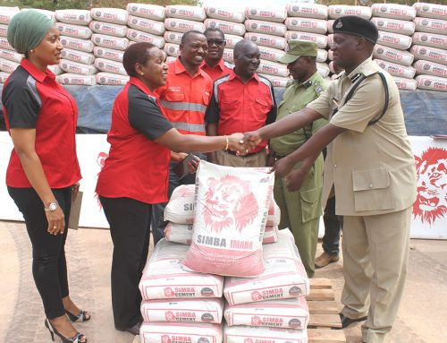 Tanga Cement PLC hands over a total of 200 bags of Simba Cement to Tanga Regional Police Force